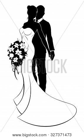 Wedding Concept Of Bride And Groom Couple In Silhouette, The Bride In A White Bridal Dress Gown Hold