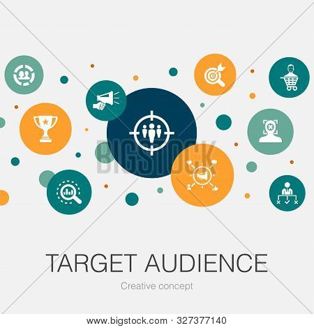 Target Audience Trendy Circle Template With Simple Icons. Contains Such Elements As Consumer, Demogr