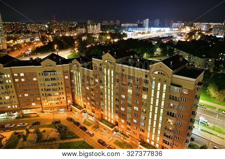 Beautiful Night Landscape In Zelenograd Sleeping Area Of Moscow