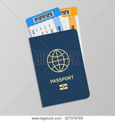 Passport With Boarding Tickets. Hand Drawn Isolated Blue International Document For Presentation In