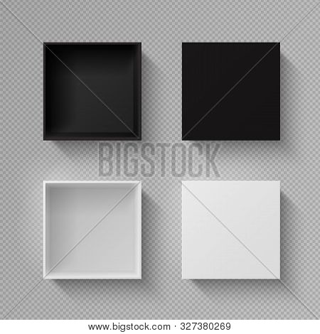 Realistic Box Top View. Open Black Blank Package Mockup On Transparent Background. Vector Image Whit