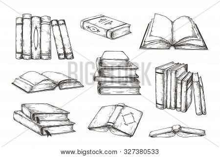 Hand Drawn Books. Retro Image Engraved Pile And Stack Of Different Books, Educational Illustration F