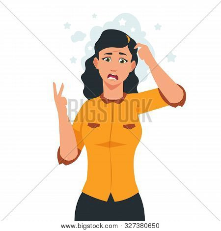 Cartoon Stressed Woman. Frustrated Girl Character With Negative And Unhappy Facial Emotions. Vector
