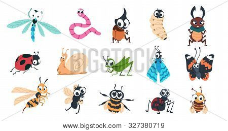 Funny Bugs. Cartoon Cute Insects With Faces, Caterpillar Butterfly Bumblebee Spider Larvae Colorful