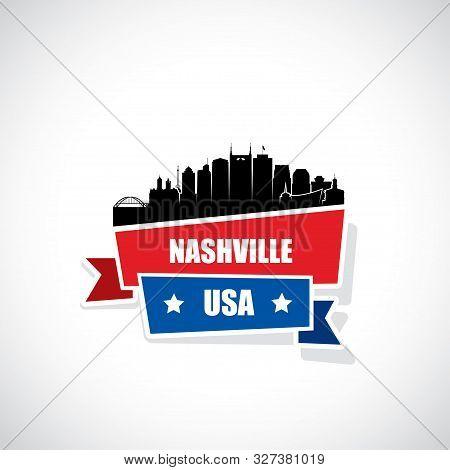 Nashville Skyline - Ribbon Banner - Tennessee - Vector Illustration