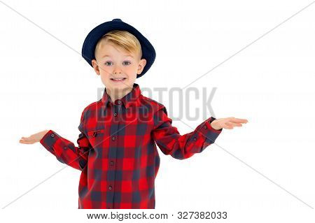 Cute Little Boy In A Hat. Isolated On White Background.