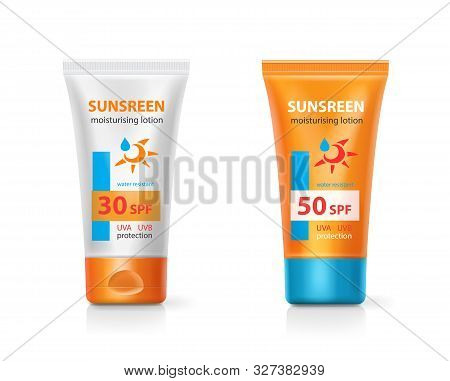Sunblock Lotion Cream Packages. Sunscreen Protection Cream Tubes Solar Care Cosmetic Realistic Produ