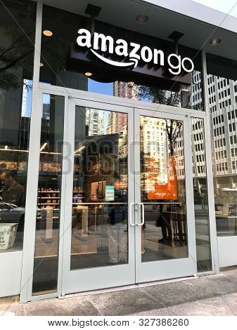 New York, 09/27/2019: View Of The Front Of An Amazon Go Store In Midtown Manhattan.