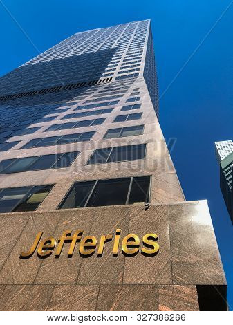 New York, 09/27/2019: Skyward View Of The Building Where The Headquarters Of Jefferies Is Located.