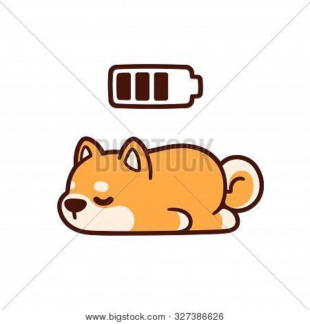 Cute Cartoon Shiba Inu Puppy Taking Power Nap With Charging Battery. Adorable Sleeping Dog Drawing,