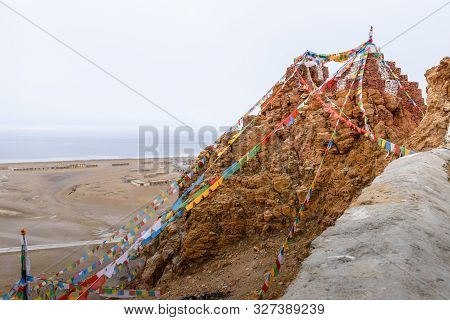 China, Tibet, Chiu Gompa Monastery On A Hill On The Shore Of Lake Manasa.