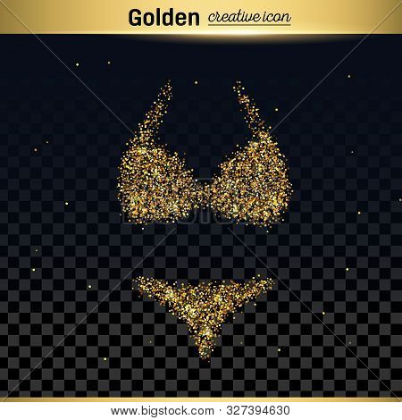 Gold Glitter Vector Icon Of Swimsuit Isolated On Background. Art Creative Concept Illustration For W