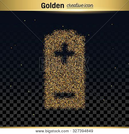 Gold Glitter Vector Icon Of Battery Isolated On Background. Art Creative Concept Illustration For We