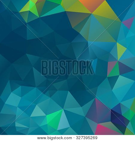 Vector Abstract Irregular Polygon Square Background - Triangle Low Poly Pattern - Color Blue Green T