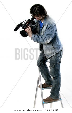 isolated cameraman work with dv handy camcorder from the step-ladder poster