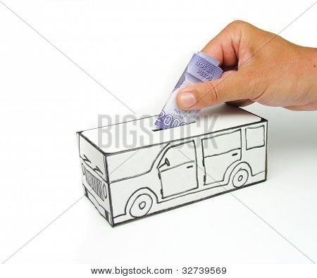 Safe with car and 2000 pesos deposited by hand