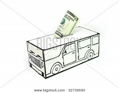 Safe with car and five dollar deposited by hand