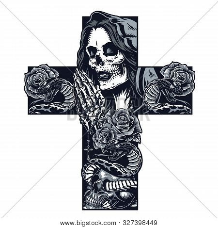 Vintage Chicano Cross Shaped Tattoo Concept With Praying Skeleton Hands Holding Rosary Rose Flowers
