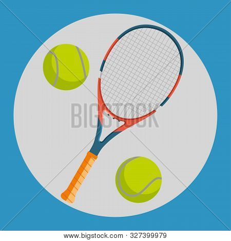 Tennis Racquet Icon. Colorful Tennis Racquet And Two Yellow Tennis Balls On A Blue Background. Sport