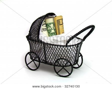 American money being taken care of a baby