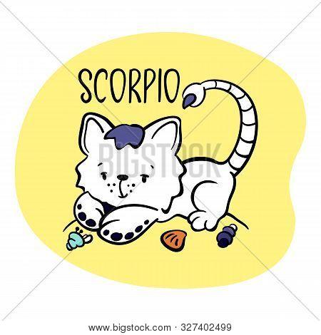 Scorpio Astrological Zodiac Sign With Cute Cat Character. Cat Zodiac Icon. Kitten Scorpio Sticker. B