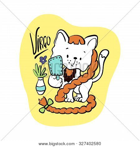 Virgo Astrological Zodiac Sign With Cute Cat Character. Cat Zodiac Icon. Kitten Virgo Sticker. Baby
