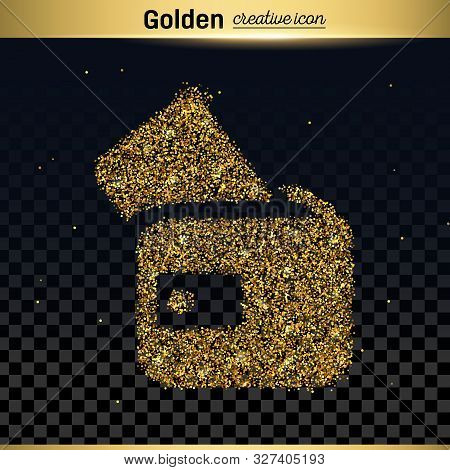 Gold Glitter Vector Icon Of Wallet Isolated On Background. Art Creative Concept Illustration For Web