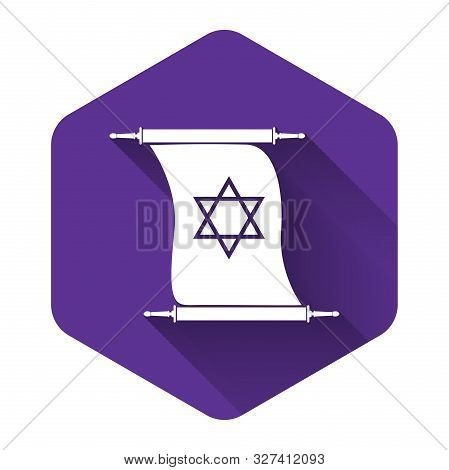 White Torah Scroll Icon Isolated With Long Shadow. Jewish Torah In Expanded Form. Torah Book Sign. S