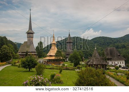 Panoramic View Of Traditional Ancient Maramures Wooden Orthodox Church In Transylvania With Highest