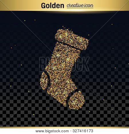 Gold Glitter Vector Icon Of Sock Isolated On Background. Art Creative Concept Illustration For Web,