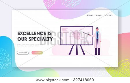Cardiology Website Landing Page. Doctor Cardiologist Holding Pointer Stand At Huge Aid Banner With H