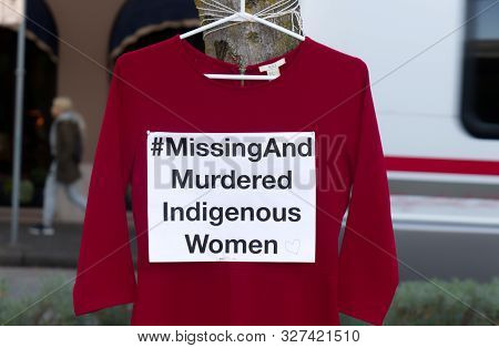 Vancouver, Canada - October 5, 2019: A Red Dress With Text
