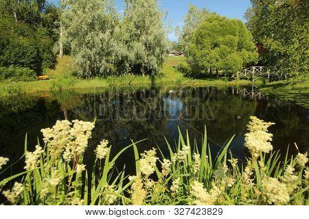 Beautiful Pond In Nordanaparken In Skelleftea, Sweden