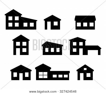 Set Of House Icons. Vector Symbol On White Background .