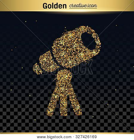 Gold Glitter Vector Icon Of Telescope Isolated On Background. Art Creative Concept Illustration For
