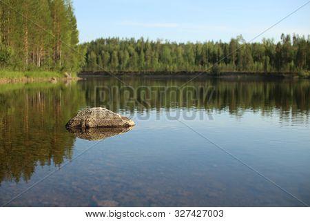 The Stream Skelleftealven In Vasterbotten, Northern Sweden