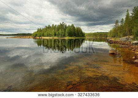 Hdr Shot At The Stream Skelleftealven In Vasterbotten, Sweden