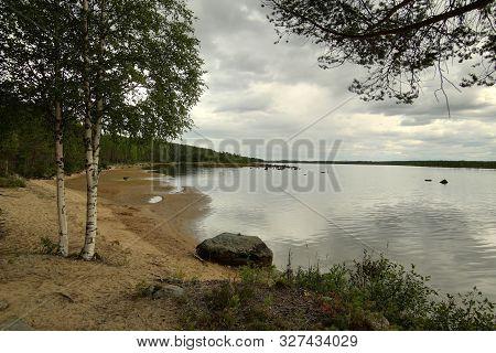 Beach At The Stream Skelleftealven In Vasterbotten, Sweden