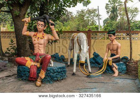 Bang Saen, Thailand - March 16, 2019: Wang Saensuk Buddhist Monastery. Group Of Colorful Sculptures