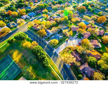 Fall Colors Aerial Drone View High Above Suburb Homes And Houses In New Development Community Suburb
