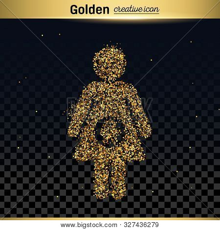Gold Glitter Vector Icon Of Pregnant Isolated On Background. Art Creative Concept Illustration For W