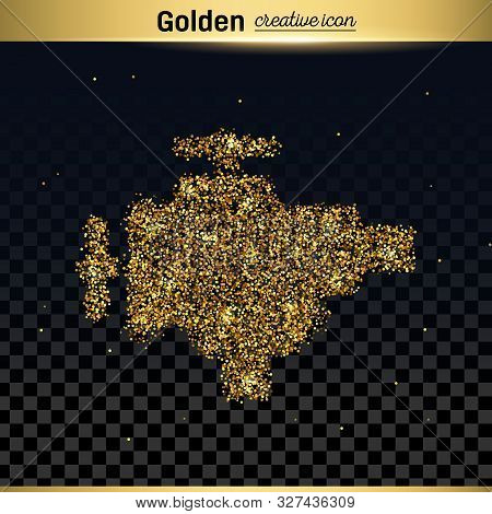 Gold Glitter Vector Icon Of Valve Isolated On Background. Art Creative Concept Illustration For Web,