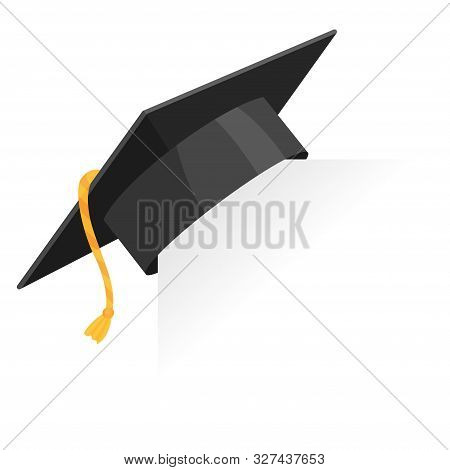 Graduation Cap Or Mortar Board On Paper Corner. Vector Education Design Element Isolated On White Ba