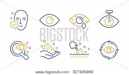 Eye Laser, Eye And Skin Moisture Line Icons Set. Skin Care, Vision Test And Face Accepted Signs. Opt
