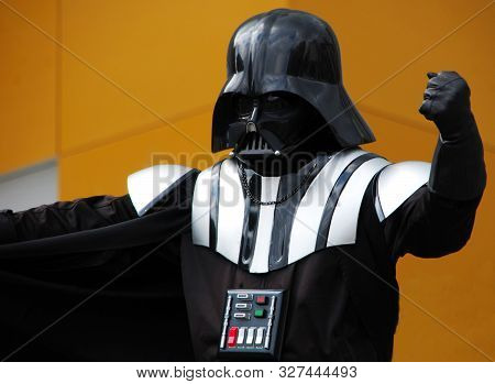 Amsterdam / Netherlands - August 8, 2015: Actor In Darth Vader Costume In The Central Dam Square In