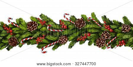 Christmas Wreath, Decorative Christmas Ornament, Seamless Texture, Art Illustration Painted With Wat