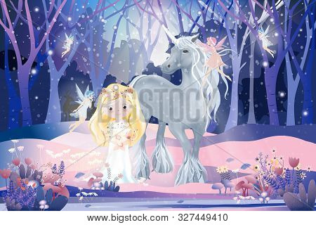 Fantasy Cute Cartoon Of Cute Princess With Little Fairies Flying And Playing With White Unicorn In M