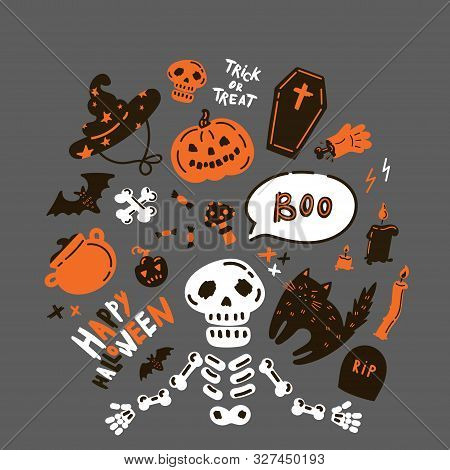 Collection Of Halloween Icon And Character.happy Halloween Hand Drawn Illustrations And Elements.hal