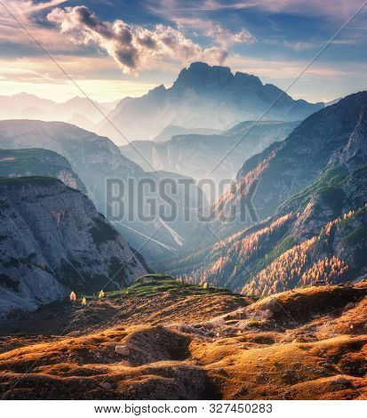 Mountain Canyon Lighted By Bright Sunbeams At Sunset In Autumn In Dolomites, Italy. Landscape With M