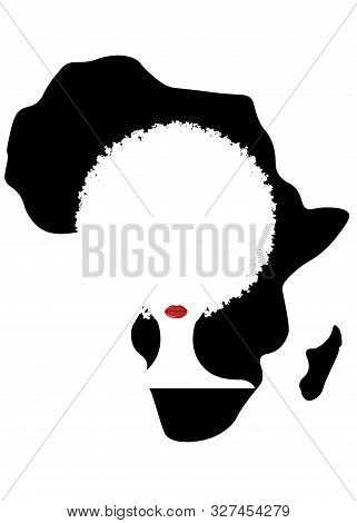 Curly Afro Hair, Portrait African Women  Female Face With Curly Hair Afro, Ethnic Traditional Coiffu